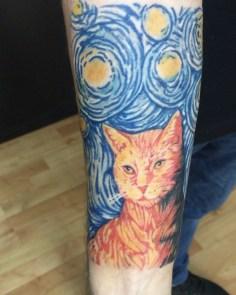 #cattattoo#colortattoo#vangoghcattattoo #intenzetattooink #tattoo #tattoo #dovme…