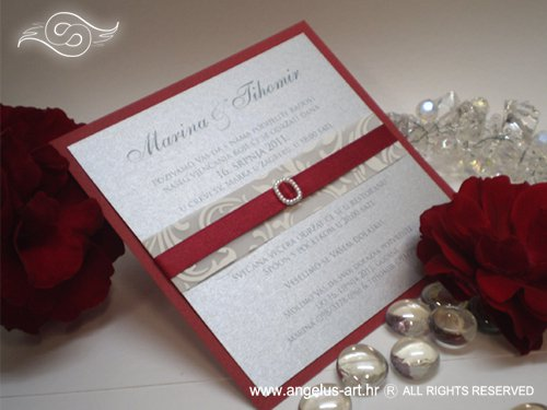 Affordable Red Silver Grey And White Snowflakes Wedding Invites With Ribbon Jewelled Joined