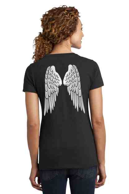 angel wings foundation crew neck t-shirt women back