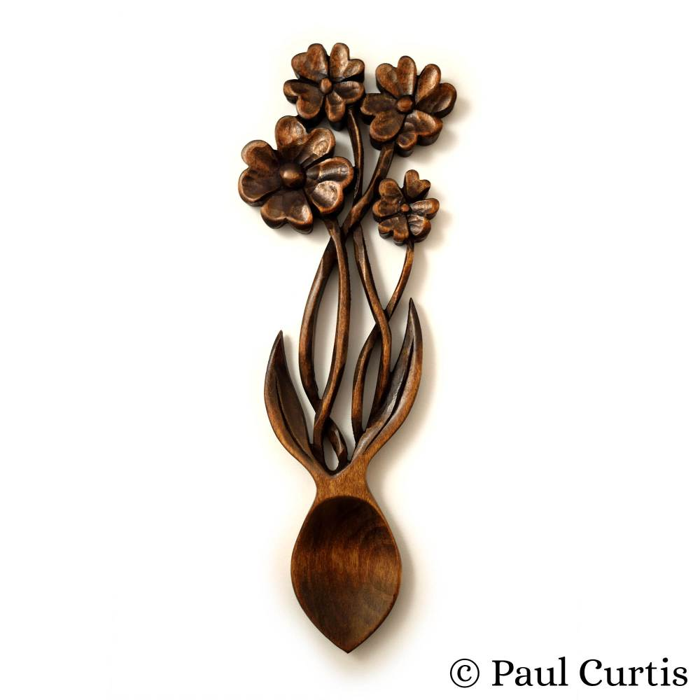Angel Woodcraft Flower Lovespoon