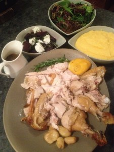 Roast Chicken, Parmesan Polenta, Beetroot and Goats Cheese and salad greens.