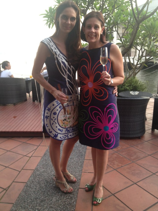 With my birthday twin Elodie wearing Chula - hers is the fabulous Pho (noodle soup) dress