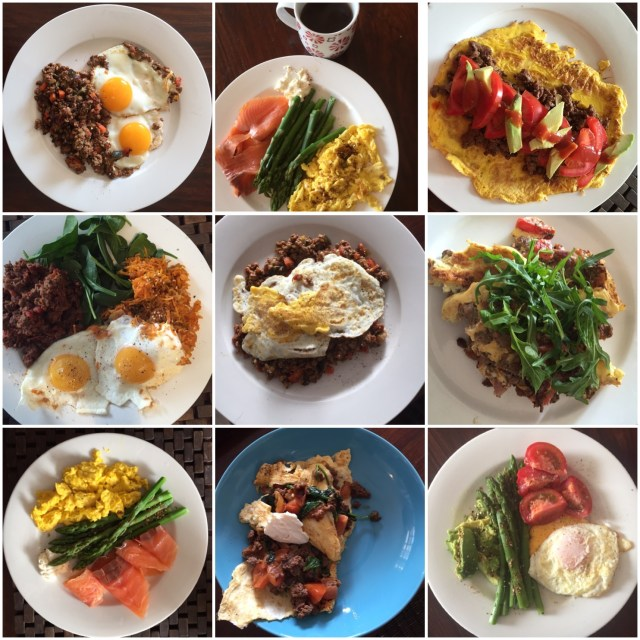 A selection of my Whole30 breakfasts - eggs, mince, salmon, sweet potato and greens - and sometimes leftovers featured pretty heavily