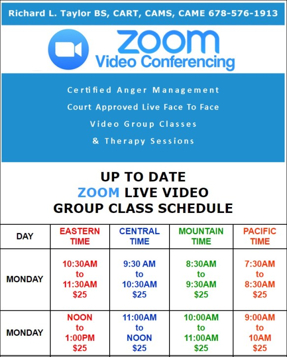 ZOOM CLASS SCHEDULE IN ALL U.S.TIME ZONES