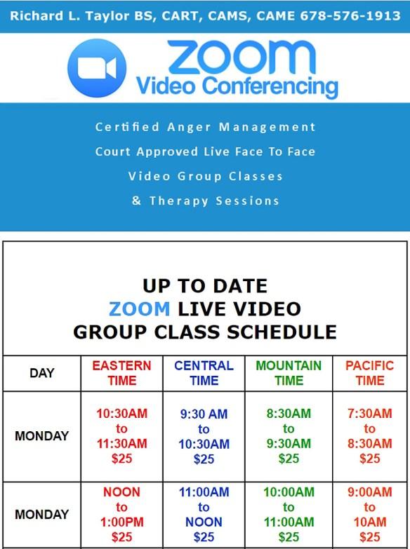 Zoom Class Schedule