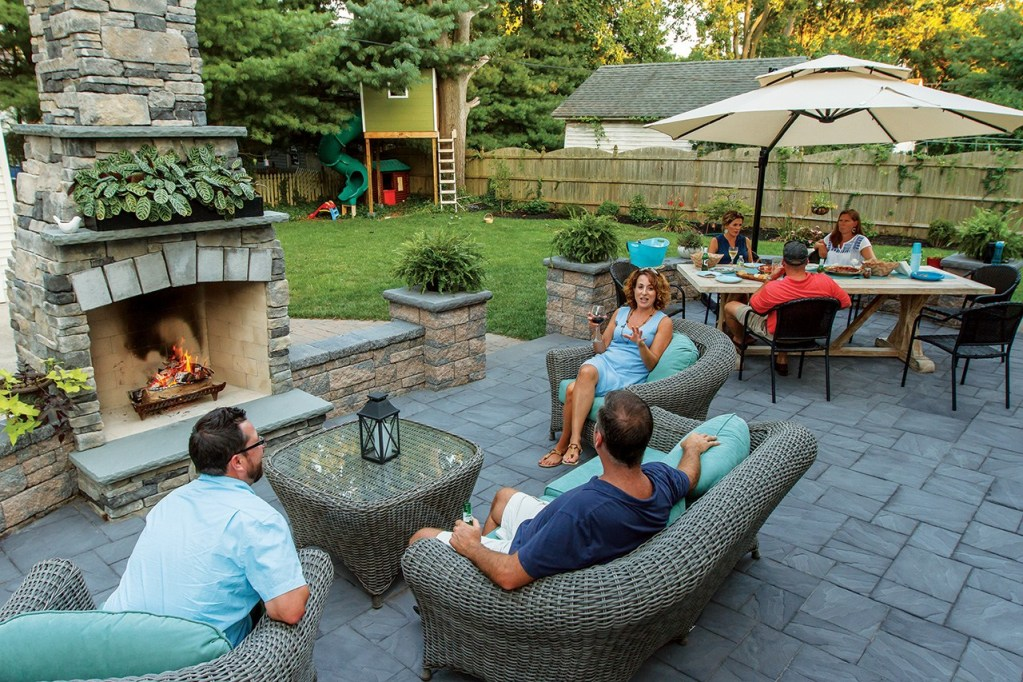 EP Henry pavers for outdoor living patios, fireplaces, built in grills for outdoor kitchens and landscape walls.