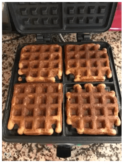 cooked waffles in iron