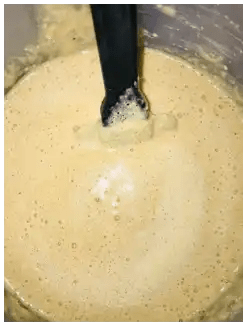 pancake batter with bubbles