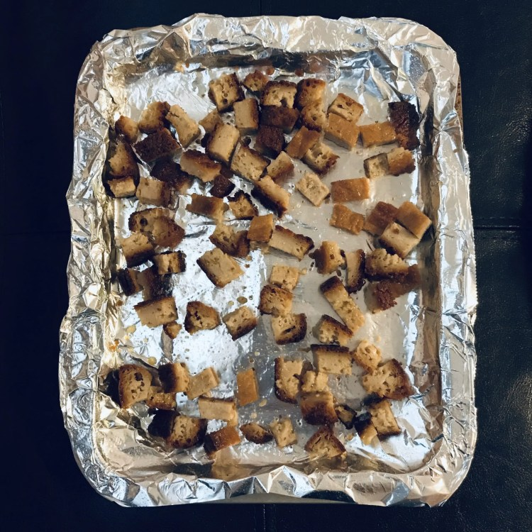 croutons before oven