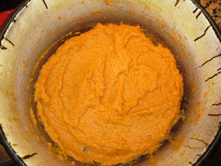 whipped sweet potatoes in pot