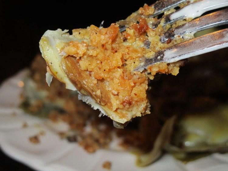artichoke on fork