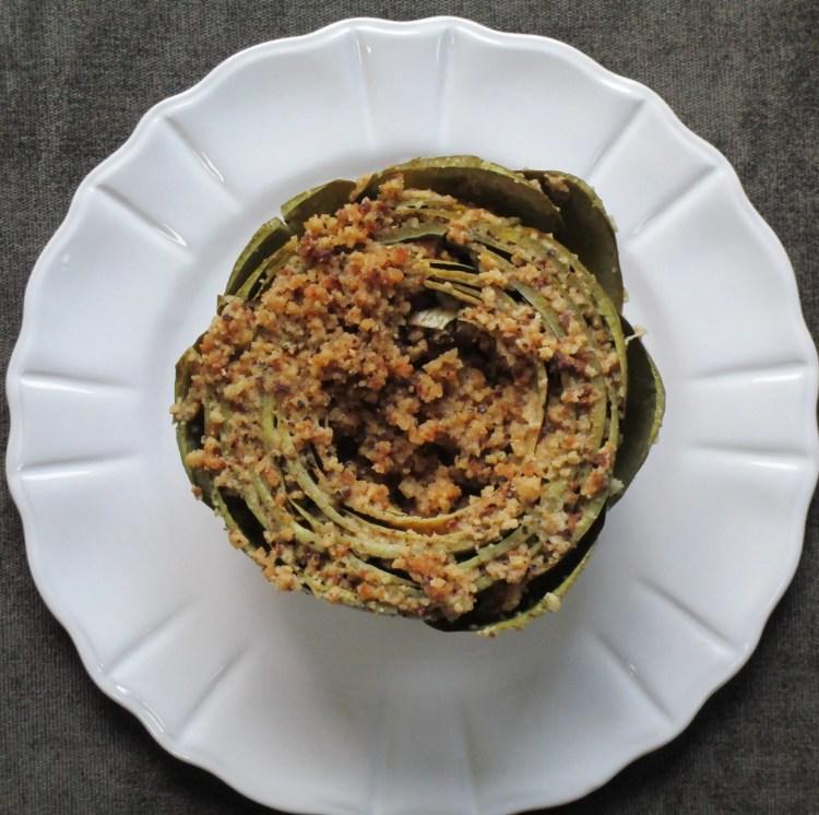 finished artichoke on dish