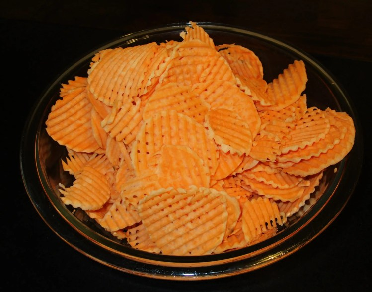 bowl of waffle chips before frying