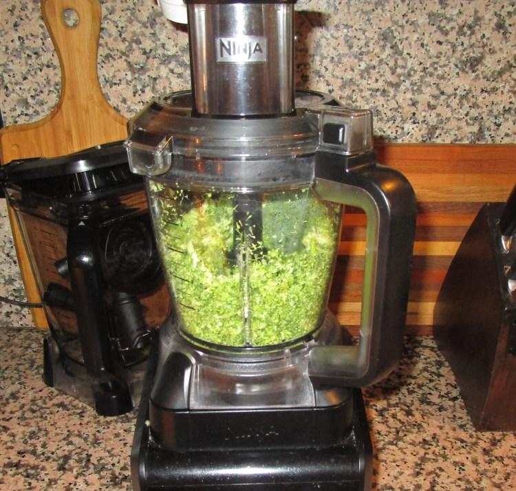 chop broccoli in food processor broccoli cheese chicken