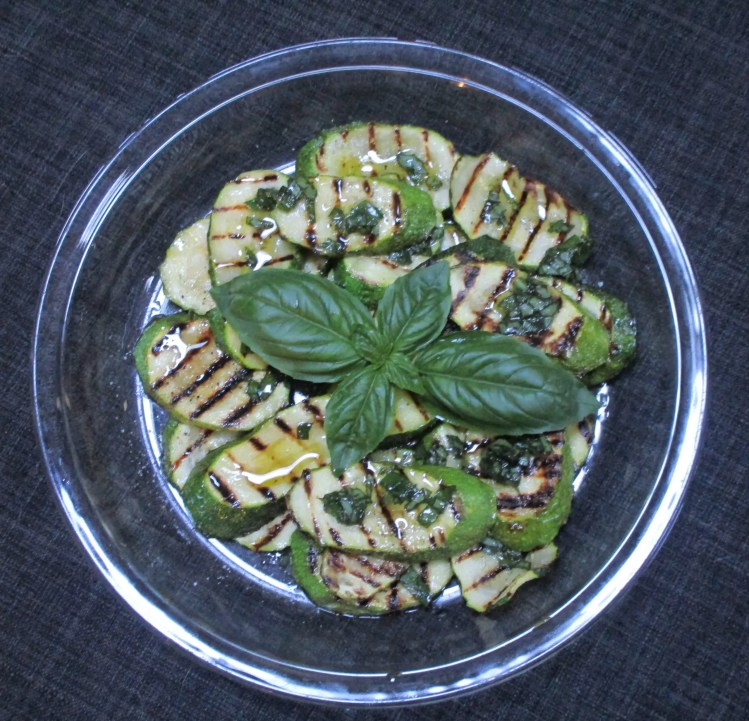 finished dish zucchini with basil oil