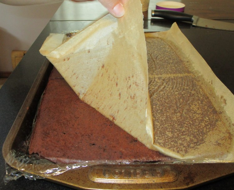flip into pan to peal off parchment brownie ice cream sandwich
