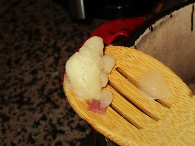 garlic soft enough to mash white beans