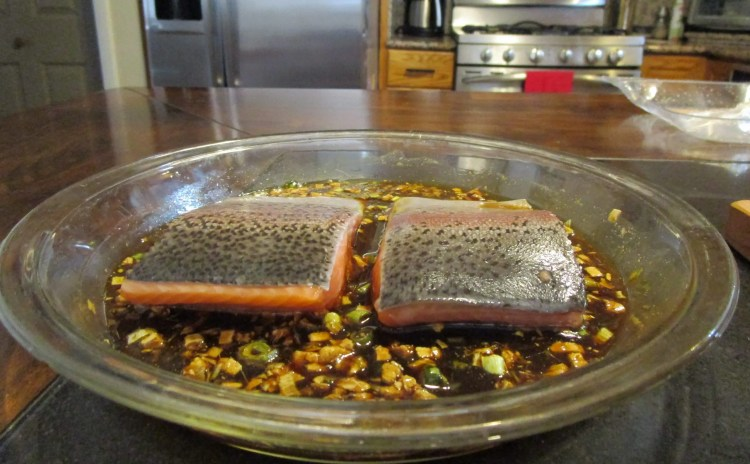 place salmon in marinade flesh side down ginger salmon