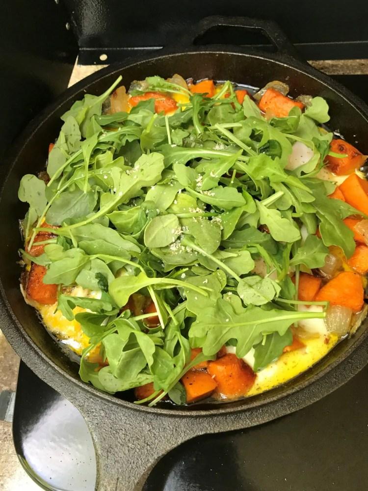 add arugula for egg hash