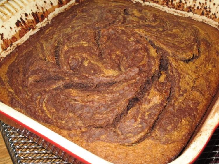 close up banana chocolate swirl cake