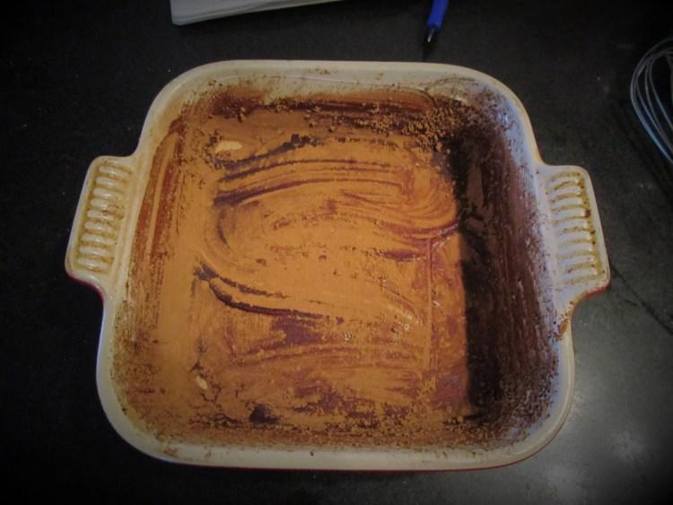 pan floured with cocoa powder banana chocolate swirl cake