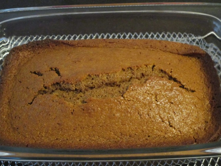 pound cake out of oven