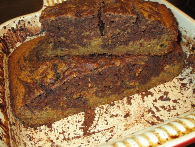 stacked in pan 2 banana chocolate swirl cake