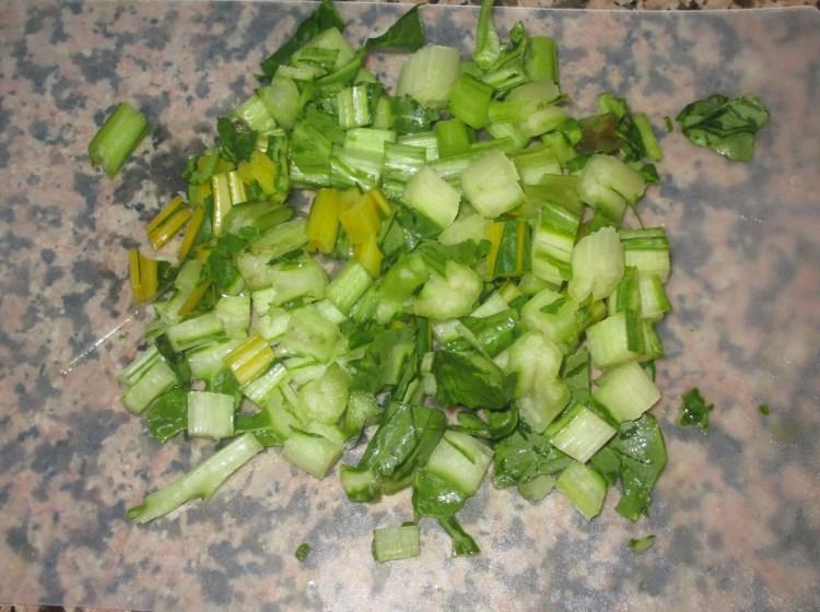 chop stems of chard