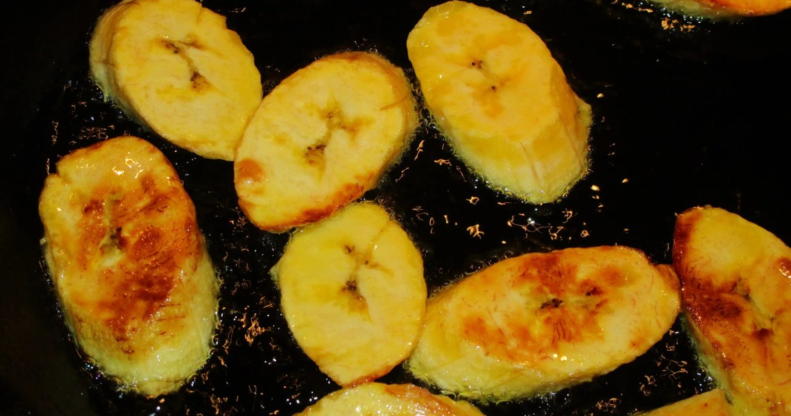 close up frying sweet plantain