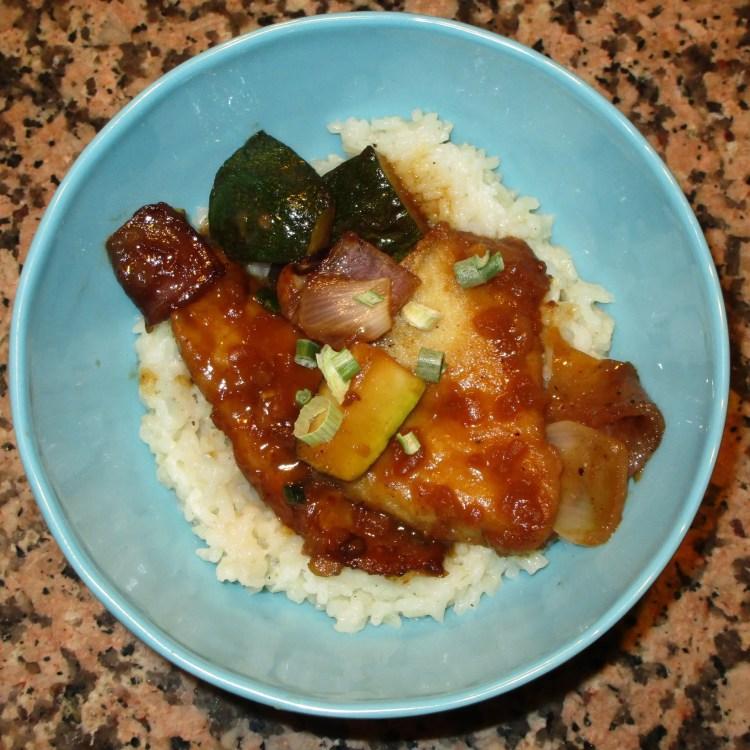 serve fish over coconut rice peanot sauce