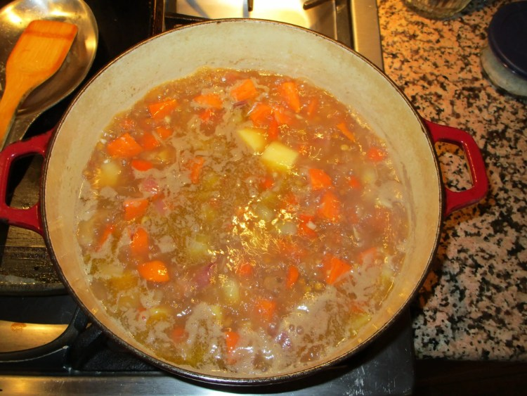 bring stock to a boil lentis stew