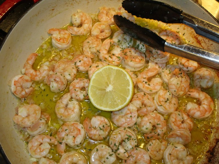 garlic shrimp in pan