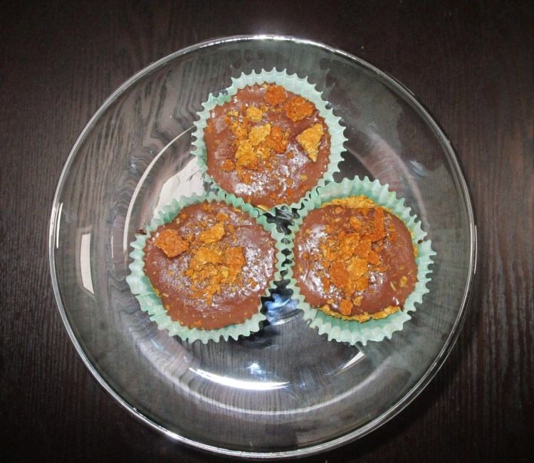 graham cracker cups with chocolate puddings on tray