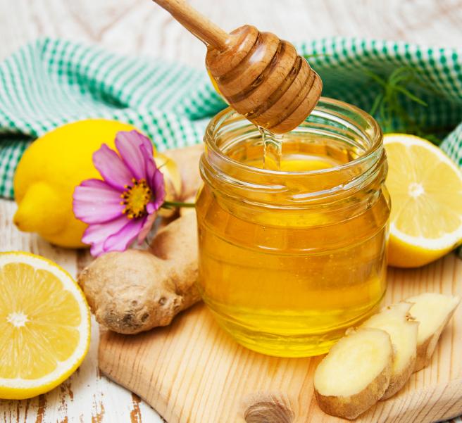 honey,  lemon and ginger