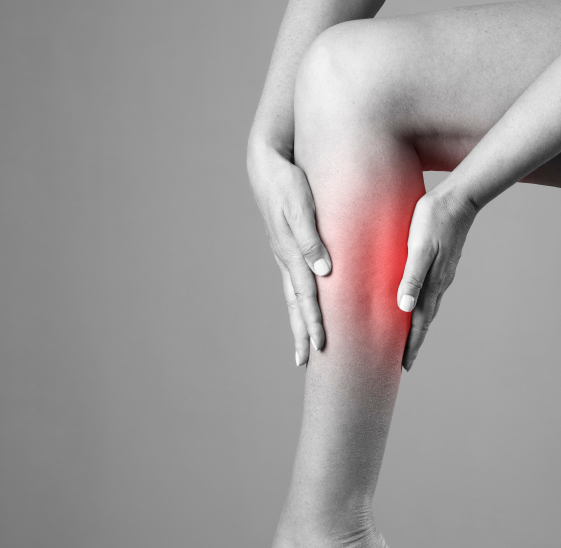Pain in the calf muscle of the woman. Massage of female feet. Pain in the human body on a gray background
