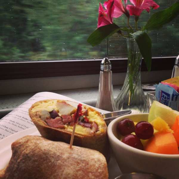 Delicious breakfast in the dining car on the Denali Star
