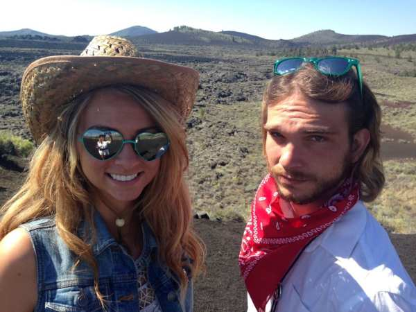 Rae & Alex at the scenic overlook. Nothing but spatter cones and lava flows as far as the eye can see.