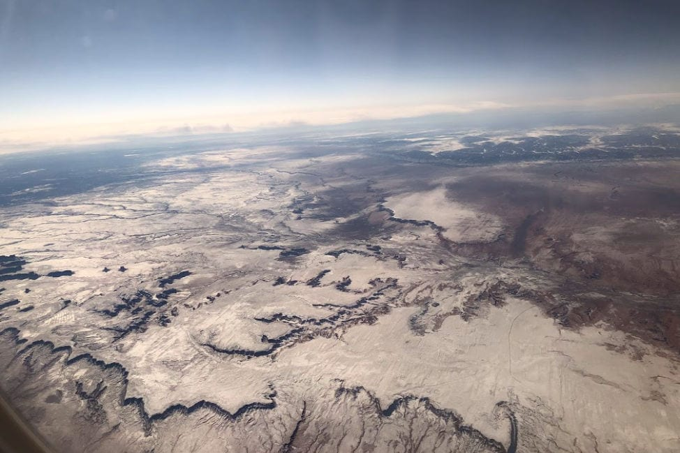 Snow covered mountains aerial view
