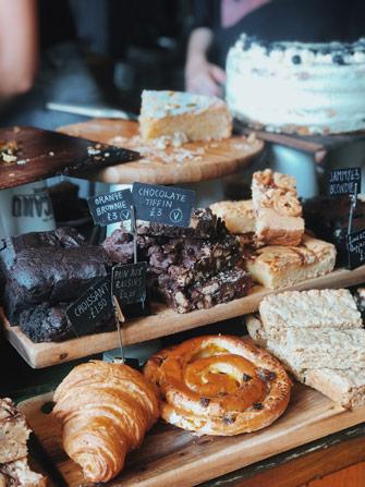 Les pâtisseries du coffee shop Pelicano à Brighton