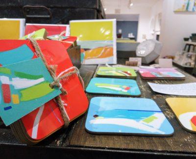 Coasters on display