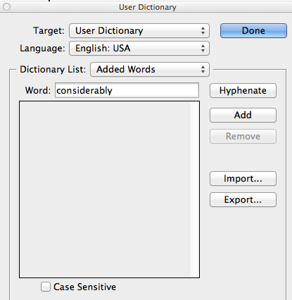 Screen snap of the User Dictionary window in InDesign.