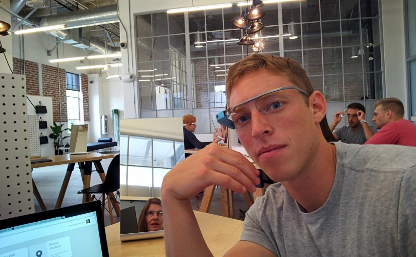 Google Glass guide checks the fit of my Glass.