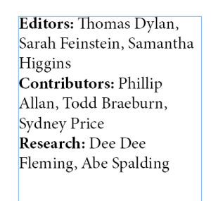 Sample Credits List with unfortunate breaks between first and last names of contributors