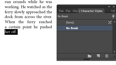 Paragraph re-wraps once No Break is applied.
