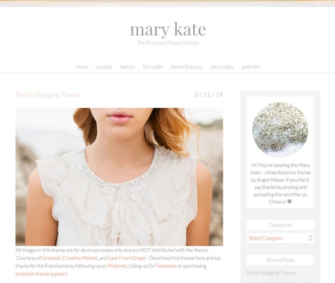 Free, Feminine WordPress Theme The Mary Kate by Angie Makes | angiemakes.com