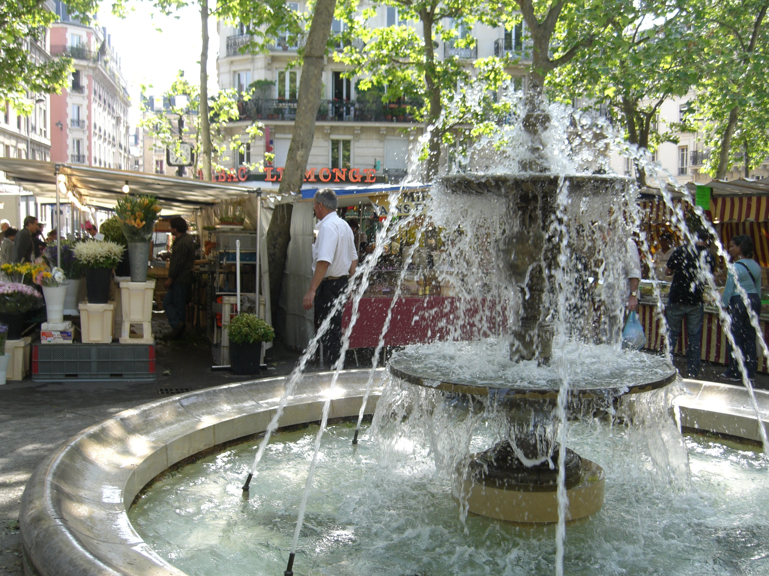 The fountain at Place Monge on Sunday Market day