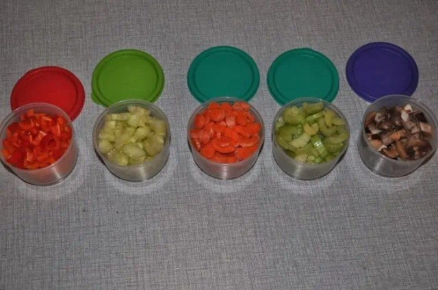 prepping of vegetables