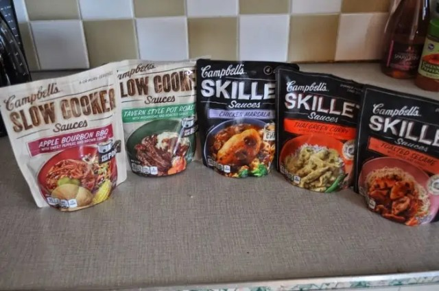a sampling of the campbell's slow cooker & skillet sauces
