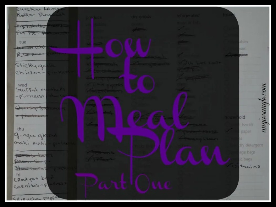 How to Meal Plan Part One