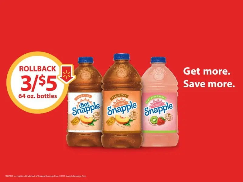 Get Your Fridge Ready for Break Time When You Buy 3 64 oz. Bottles of Snapple for Just $5 at Walmart